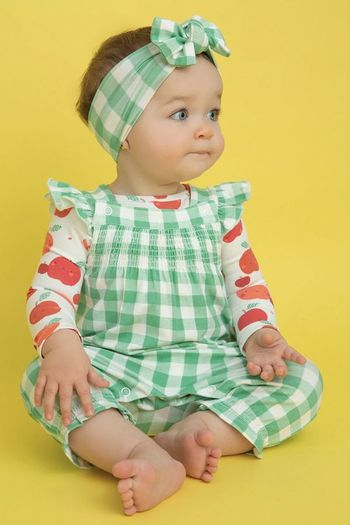 Angel Dear Green Gingham Smocked Coverall