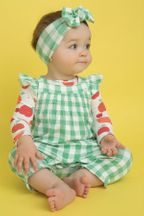 Angel Dear Green Gingham Smocked Coverall (Size 6-12Mos)