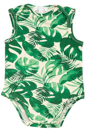 Angel Dear Onesie in Tropical Leaves (Sizes 0 to 18Mos)