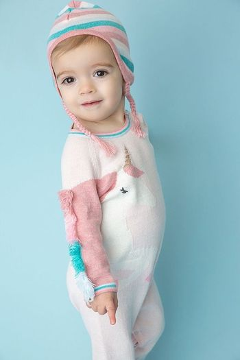 Angel Dear Pink Sweater Coverall Unicorn (Size 3-6Mos)