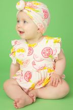 Angel Dear Ruffle Sunsuit in Citrus (Size 0-3Mos)