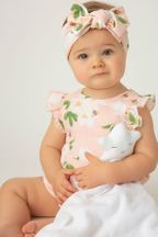 Angel Dear Sunsuit with Magnolias (Size 3-6Mos)