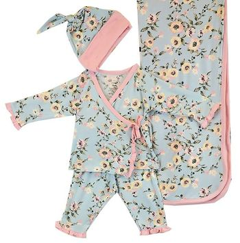 Baby Girl Blue Floral Kimono Set SOLD OUT