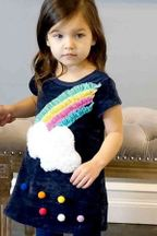 Baby Sara Cloud Rainbow Sweater Dress in Navy