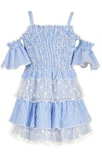 Baby Sara Girls Summer Dress in Blue & White Stripe (Sizes 24Mos to 6X)