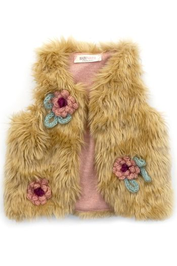 Baby Sara Gold Faux Fur Vest with Crotchet Flowers