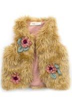 Baby Sara Gold Faux Fur Vest with Crotchet Flowers (2T,3T,4,5,6)