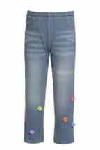 Baby Sara Jeggings with Pom Poms and Rainbow Trim (Size 3T)