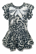 Baby Sara Leopard Dress with Sequin Bow (Size 12Mos)