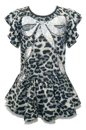 Baby Sara Leopard Dress with Sequin Bow (12Mos,3T,5)