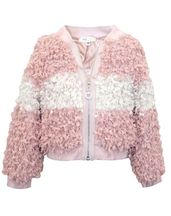 Baby Sara Pink Bomber Jacket with Textured Faux Fur (2T,4,5,6)