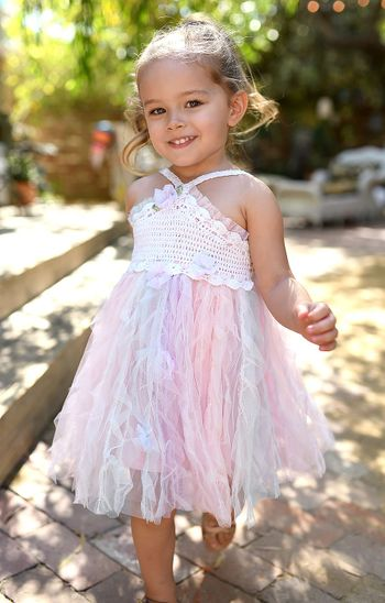 Baby Sara Pink Tulle Crotchet Dress (2T & 5)