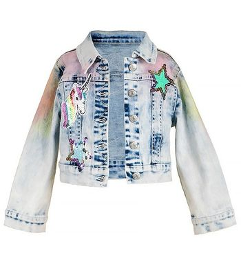 Baby Sara Rainbow Denim Jacket (4T,4,5)
