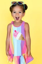 Baby Sara Rainbow Stripe Dress with Ice Cream Patch