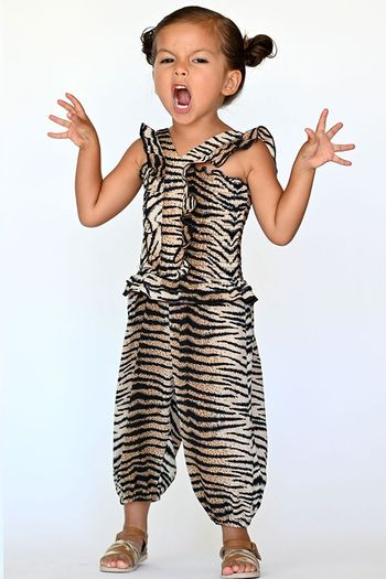 Baby Sara Tiger Print Ruffled Jumpsuit (Sizes 2T to 8)