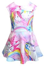 Baby Sara Unicorn Dress Rainbow (12Mos,18Mos,4)
