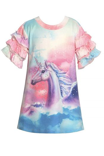 Baby Sara Unicorn Print Girls Dress (Sizes 3T to 6)