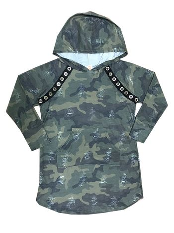Camo Hooded Dress with Pocket