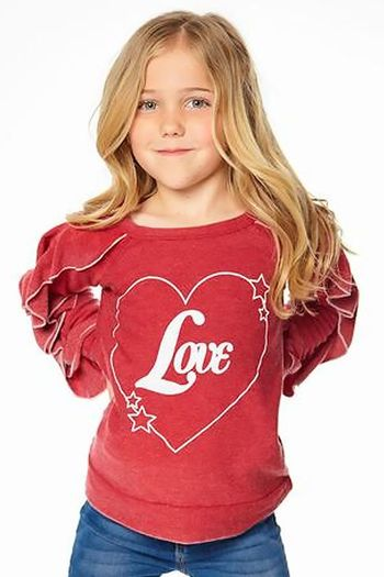 Chaser Love Red Ruffle Sweatshirt SOLD OUT