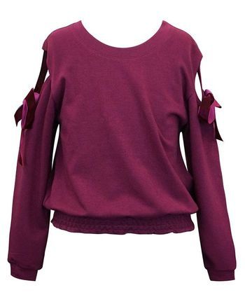 Cold Shoulder Ribbon Burgandy Sweatshirt (7 & 14)