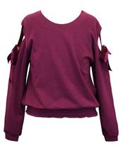 Cold Shoulder Ribbon Burgandy Sweatshirt (7,12,14)