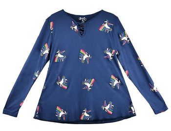 Flowers by Zoe Dancing with Unicorns Top (Size  LG 10/12)