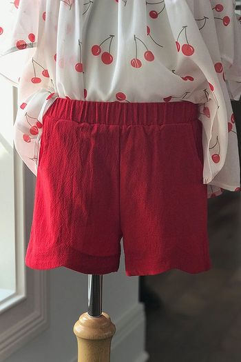 Doe A Dear Red Shorts with Scalloped Edge
