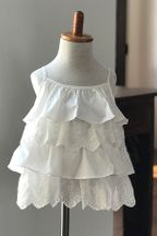 Doe A Dear White Eyelet Tiered Tank