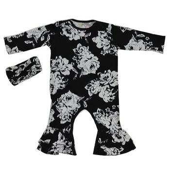 Everly Grey Black Floral Romper 2 Piece Set