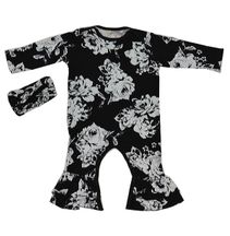 Everly Grey Black Floral Romper 2 Piece Set (3-6Mos & 6-9Mos)