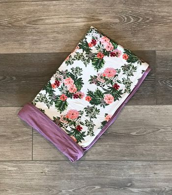Everly Grey Floral Beige Swaddle Blanket - Bamboo