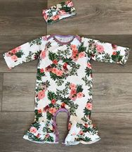 Everly Grey Floral Romper Set  with Headband (Size 0-3Mos)