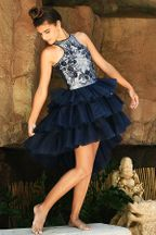 Floral Embroidered Navy Tulle Dress (Size 8)