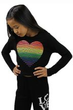 Flowers by Zoe Black Rainbow Heart Top (2T,4T,4,6,MD 10,LG 10/12)