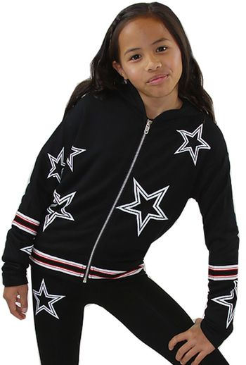 Flowers by Zoe Black Star Hoody with Zipper (4,6,6X,7/8,10/12)