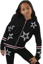 Flowers by Zoe Black Star Hoody with Zipper (4,6,6X,7/8)