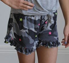 Flowers By Zoe Camo Ruffle Shorts with Neon Stars