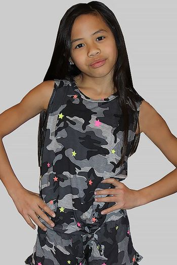 Flowers by Zoe Camo Tank with Stars in Neon (4 & 5)