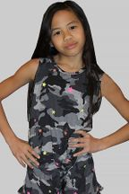 Flowers by Zoe Camo Tank with Stars in Neon (Size 4)
