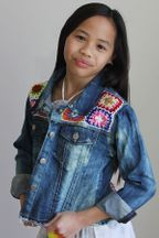 Flowers By Zoe Denim Jacket with Crochet Patches (3T,5,7/8,10,10/12,12/14)
