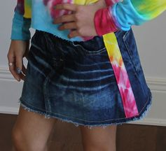 Flowers By Zoe Denim Skirt with Tie Dye Stripe (3T,6,7/8,10)