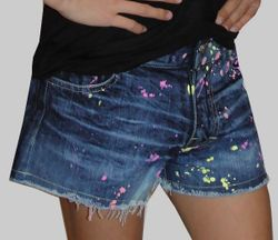 Flowers By Zoe Denim Splattered Shorts (4T,4,6,6X,12/14)