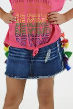 Flowers by Zoe Girls Denim Skirt with Tassels