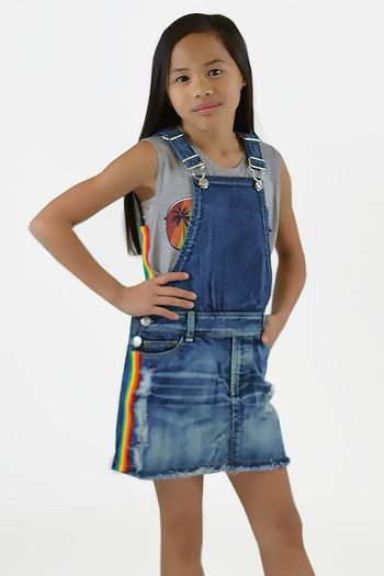 Flowers by Zoe Girls Overall Denim Dress