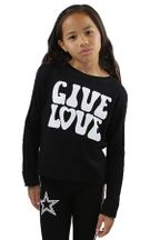 Flowers by Zoe Give Love Sweatshirt in Black (Sizes 2T to 10/12)