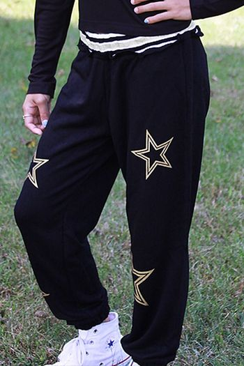 Flowers By Zoe Joggers Black Gold Star (2T,3T,4T,4,XL 12/14)