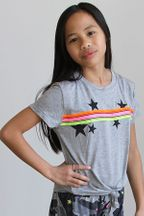 Flowers By Zoe Neon Stripe Star Tee (Size 4)