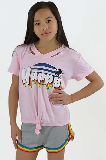 Flowers by Zoe Pink Girls T-shirt-Happy