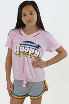 Flowers by Zoe Pink Girls T-shirt-Happy (3T,4T,4,5)