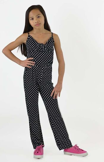 Flowers by Zoe Polka Dot Jumpsuit Black and White